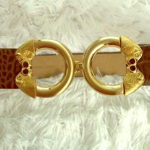Ellen Tracy Brown w Gold Genuine Leather Belt